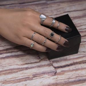 R-1457 8Pcs/Set Vintage Antique Silver Crown Shape Rhinestone Knuckle Midi Finger Rings Set for Women Jewelry