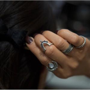 R-1460 4 pcs/set Bohemian Style Diamante Flower Moon knuckle Rings For Women Charm Jewelry