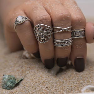 R-1461 5Pcs/Set Vintage casual Big Flower Knuckle Midi Finger Rings Set for Women Jewelry