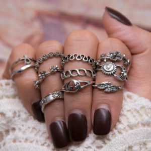 R-1463 11pcs/set Fashion Vintage Silver plated Knuckle Nail Turquoise Midi Ring Set Jewelry for Women