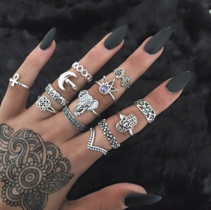 R-1464 13pcs/set Fashion Vintage Silver Gold plated Knuckle Nail Midi Ring for Women Jewelry