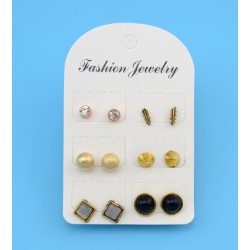 E-4190 6 Pairs /Set Bohemian Silver Gold Metal Color Rhinestone Stud Earrings for Women Party Jewelry Wholesale