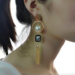 E-4192 Fashion  Rhinestone Pearl Tassel Charm Drop Stud Earring for Women Jewelry