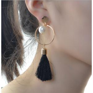 E-4191 Fashion Jewelry Big Circle Pearl Tassel Charm Drop Stud Earring for Women Jewelry