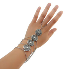 B-0858 Fashion Bohemian Style Flower Pendant Silver Chain Bracelet Charm Bracelets for women