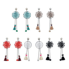 E-4195 5Colors New Fashion Resin Beads Long Tassel Drop Earrings for Women Bohemain Party Jewelry