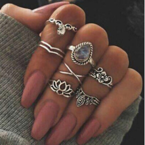 R-1468 7pcs/set Fashion Vintage Silver Gold plated Knuckle Nail Midi Ring for Women Jewelry