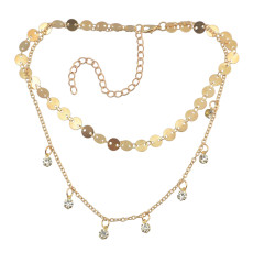 N-6900 2 Colors New Fashion  Gold Silver Crystal Tassel Necklace For women Jewelry