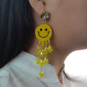 E-4198 Fashion Jewelry Face Smile Crystal Charm Drop Stud Earring for Women Jewelry