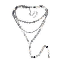 N-6901 2 Colors New Fashion  Gold Silver Multi-level Long Chain Tassel Necklace For women Jewelry