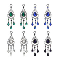 E-4201 2017 New Luxury Purple White Blue Green Crystal Silver Plated Bridal Earrings Imitation Gemstone Jewelry Long Earrings for Women