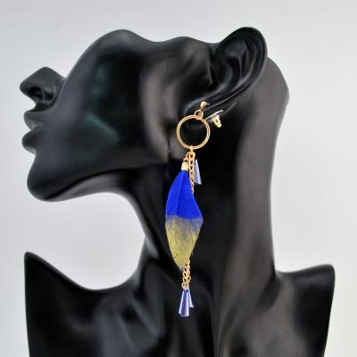 E-4199 Fashion  Feather Long Tassel Charm Drop Stud Earring for Women Jewelry