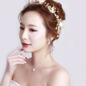 F-0448 New Arrival Bridal Headbands Handmade Flower Shape Pearl Wedding Hair Jewelry Accessories