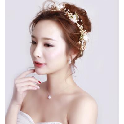 F-0448 New Arrival Bridal Headbands Handmade Flower Shape Pearl Wedding Hair Jewelry Accessories