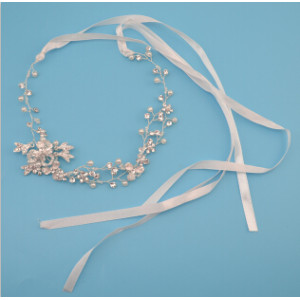 F-0450 2 Color Gold Silver Rope Copper Chain Crystal  Hair bride Handmake Floral jewelry pearl hair Headpiece ornaments party wedding accessories
