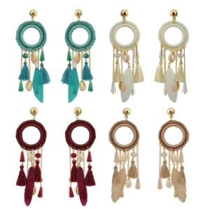 E-4209 4Colors New Fashion Women Gold Metal Shell Feather Long Tassel Drop Dangle Earring Bohemian Party Jewelry