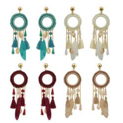 E-4209 3 Colors New Fashion Women Gold Metal Shell Feather Long Tassel Drop Dangle Earring Bohemian Party Jewelry