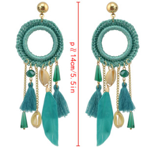 E-4209 3 Colors New Fashion Women Gold Metal Shell Feather Long Tassel Drop Dangle Earring Bohemian Party Jewelry