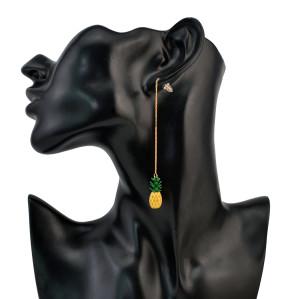 E-4219 New Fashion Fruit Pineapple Long Chain Drop Line  Earrings For Women Charm Jewelry