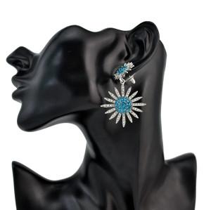 E-4222 Bohemian Tibetan Alloy Rhinestone Stud Star Shape Dangle Earrings for Women Jewelry