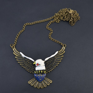 Bohemian Vintage Pendant Dangle Eagle Shape Bronze plated Charm Chain Necklace for Women Jelwery