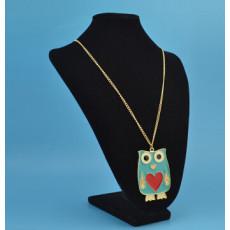 N-2536 3 Colors Fashion Enamel Heart Owl Shape Pendant Necklace Long Chain Jewelry For Women Wholesale