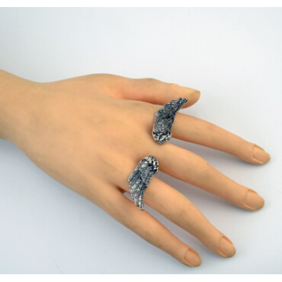 R-1035 Retro Vintage Silver Feather Open Rings for Women Bohemian Party Jewelry