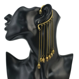 E-1179 New Punk Fashion Gold Plated Metal Tassel  Skull Pendant Ear Cuff