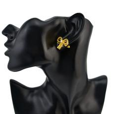 Fashion Charm Bohemian Pearl Rhinestone Bow Tie Shape for Women Earring