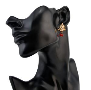 Fashion Rhinestone Tree Shape Stud Earring for Women Jewerly