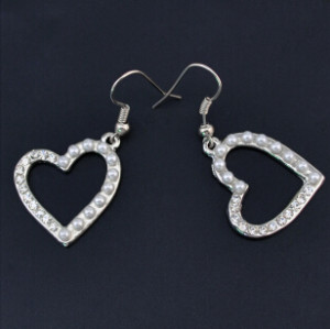 Fashion New Silver Alloy Diamante Crystal Pearl Ear Fashion Jewelry Earrings For Women Party Gift
