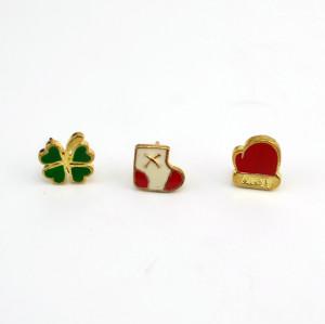 E-1579 3Pcs/set  Color Drop Oil Alloy  Gold Tone Socks Glove Sweet Simple Stud Earring For Women Jewelry