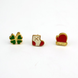 E-1579 3Pcs/set  Color Drop Oil Alloy  Gold Tone Socks Glove Sweet Simple Stud Earring For Women Jewelry