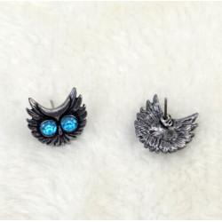 E-1652 2 colors Fashion Bronze Alloy Diamante Owl Ear jewelry Earrings for Women Jewelry