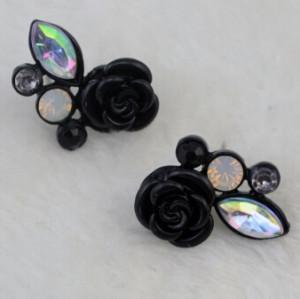E-0552 2 colors Fashion Alloy Flower Shape Diamante Crystal Ear jewelry Earrings for women