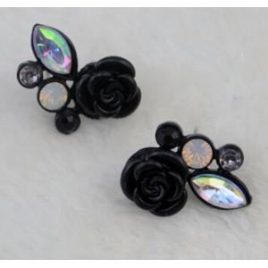 E-0552 2 colors Fashion Alloy Flower Shape Diamante Crystal Ear jewelry Earrings for women