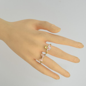 New Fashion 2pcs/set Gold Alloy Mushroom Bow-knot Rings for Women Jewelry