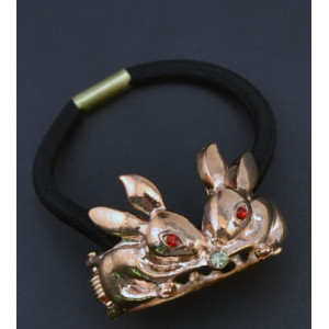 F-0045 Gold Silver Alloy Double Rabbit Shape Rubber Hair Rope Women Girl Elastic Hair Band