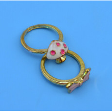 New Fashion 2pc/Set Gold Alloy Mushroom Bow-knot Rings for Women Jewelry