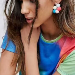 E-4217 Fashion Bohemian Style Flower shape Bead Rhinestone Earring for Women Jewelry