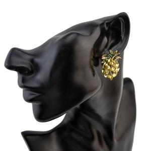 E-4212 925Silver New Fashion Fruit Pineapple Crystal Stud Earrings For Women Charm Jewelry