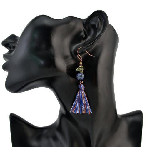 E-4216 2 styles Boho Fashion Tassel Beads Hook Pendant Charm Earring for Women Jewelry