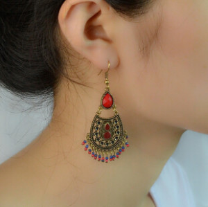 E-4223 2 Styles Bronze Alloy Natural Stone Flower Tassel Pendant Ear Jewelry Earrings For Women
