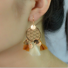 E-4224 2 Styles Boho Gold Silver Plated Alloy Natural Stone Round Tassel Pendant Ear Jewelry Earrings For Women