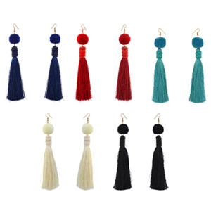 E-4210 5 Colors New Fashion Women Gold Metal Shell Long Tassel Drop Dangle Earring Bohemian Party Jewelry