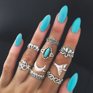R-1469 9Pcs/set Bohemian Vintage Moon Shape Silver Gold Plated Knuckle Nail Midi Finger Ring for Women Party Jewelry