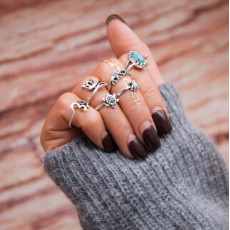 R-1466 2 Colors Gold Silver Alloy Crown Snake Elephant tortoise Rings for Women Jewelry