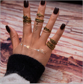 R-1467 8Pcs/set Bohemian Vintage Flower Shape Silver Gold Plated Knuckle Nail Midi Finger Ring for Women Party Jewelry