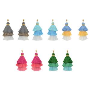 E-4230 11 Colors New Fashion Women Tree shape Long Tassel Drop Dangle Earring for Women Bohemian Jewelry