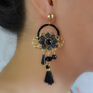 E-4229 4Colors New Fashion Women Fringe Tassel Drop Earring Gold Alloy Flower Shape Earrings Party Jewelry